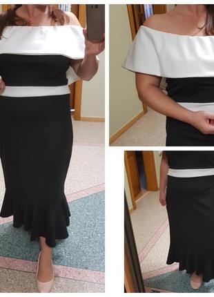 Платье с открытыми плечами, большого размера quiz, с воланом
