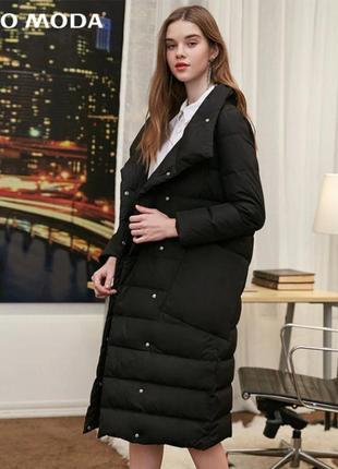 Пуховик одеяло женский теплый длинный. пуффер пальто на утином...