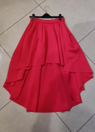 Ликвидация товара 🔥   красная асимметричная мини юбка со шлейф...