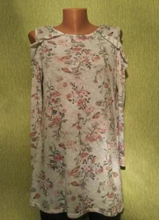 Кофточка с открытыми плечами и воланами в цветы george размер ...