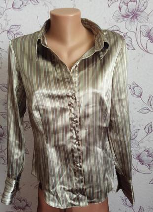 Красивая элегантная атласная рубашка блуза в полоску полосатая...
