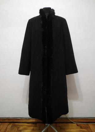 Стильное теплое пальто в английском стиле большого размера