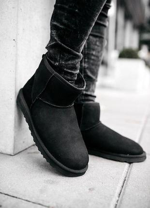 Ugg classic mini black! мужские замшевые зимние угги/ сапоги/ ...
