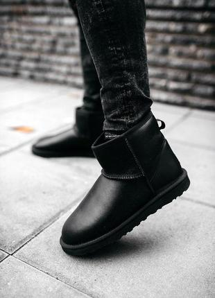 Ugg classic mini leather black! мужские кожаные зимние угги/ с...