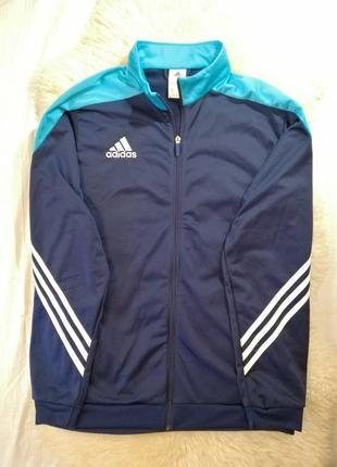 Олимпийка adidas спортивная кофта синего цвета три полоски ади...