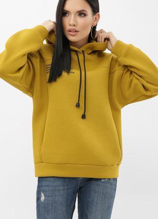 Женский теплый свитшот худи с капюшоном хлопок с начесом