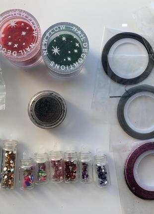 Набір, комплект декору для нігтів, камінчики, бархат ( кашемір...
