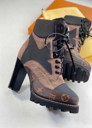 Ботинки женские кожаные демисезонные осенние на каблуке коричн...