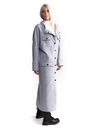 Пальто женское длинное серое кашемир осеннее демисезонное