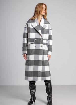 Пальто женское демисезонное осеннее шерстяное серое клетчатое ...