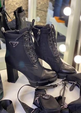 Ботинки женские демисезонные осенние черные брендовые на каблуке