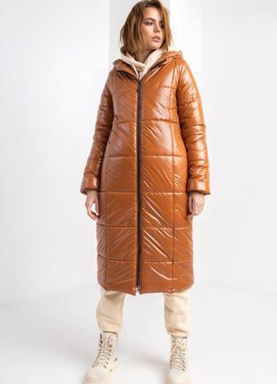 Куртка женская пальто длинное карамель