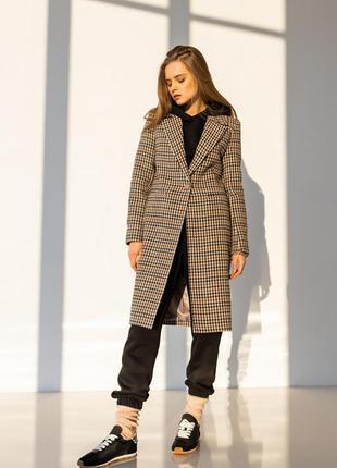 Пальто женское бежевое клетчатое весеннее шерстяное
