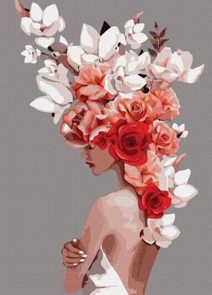 Картина по номерам девушка с цветами на голове цветочная тиара...