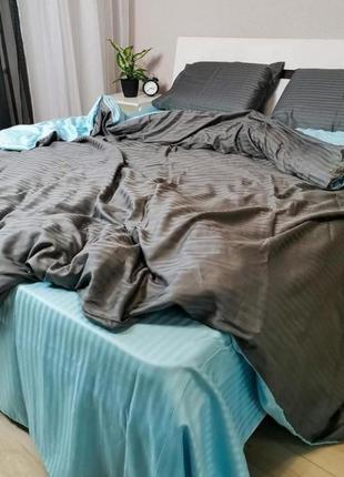 Двухцветные комплекты постельного белья страйп сатин пакистан,...