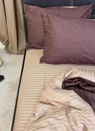 Двухцветное постельное белье страйп сатин пакистан натуральное...