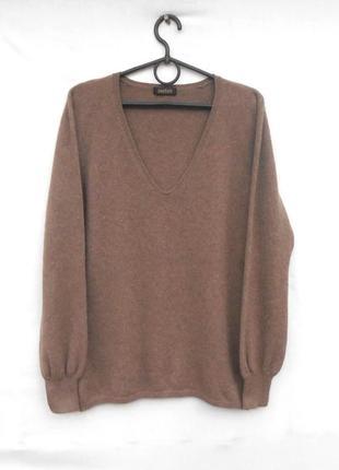 Базовый мягкий осенний зимний кашемировый свитер джемпер с дли...