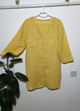 Длинная льняная рубашка 100% лен