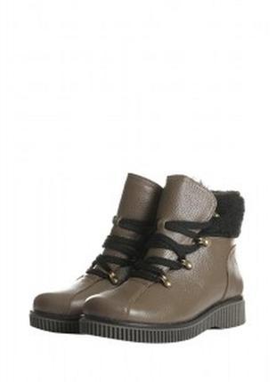 Зимние светлые ботинки из натуральной кожи с мехом