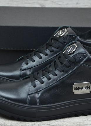 Мужские кожаные зимные ботинки Philipp Plein