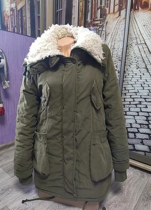 Женская теплая куртка парка на овчине