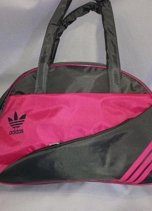 Спортивная сумка для фитнеса Adidas, Адидас розовая с серым