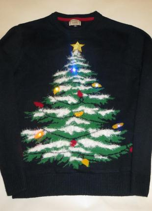 Новогодний свитер, герлянда на елочке мигает