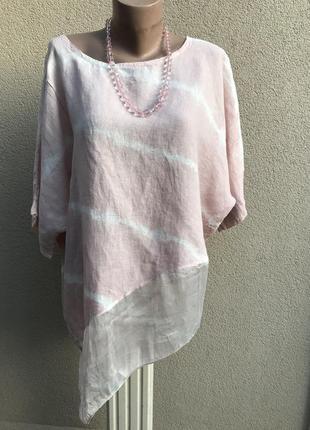 Блуза,рубаха комбинированная,ассиметрия,лён-шелк,этно,бохо стиль,