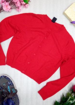 Красный укороченный кардиган свитер джемпер кофта от gap шерст...