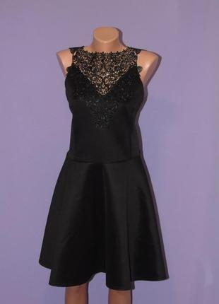 Стильное черное платье с кружевом new look