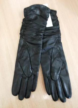 Кожаные длинные женские перчатки Мариclassic на шерсти сетка GL40