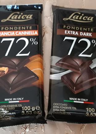 Черный шоколад LAICA, 72% какао, Италия, 100г (интернет-магазин)