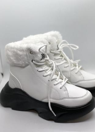 Новые зимние ботинки с мехом белого цвета! модель зимы 2020! н...