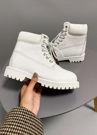 Шикарные женские термо ботинки timberland white  термо