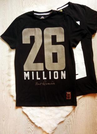 Черная мужская футболка хлопок стрейч с принтом надписями цифрами