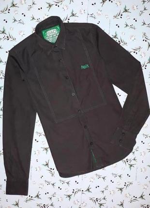 🎁1+1=3 фирменная оригинальная темная мужская рубашка superdry ...
