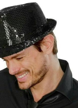 Шляпа диско гангстерская с паетками для вечеринки
