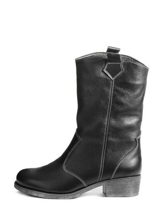 Кожаные зимние черные женские короткие сапоги полусапоги низки...