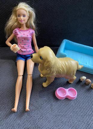 Набор игровой barbie блондинка и собака с новорожденными щенками