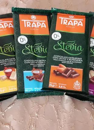 Шоколад Trapa Stevia(стевия), без сахара и глютена, Испания, 75г