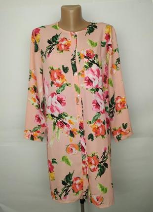 Платье в рубашечном стиле стильное в розы boohoo uk 14/42/l
