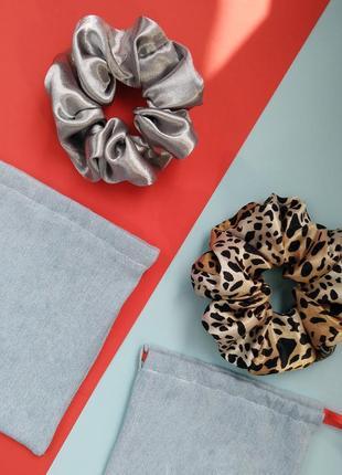 """Набор трендовых ретро резинок для волос scrunchie """"леопард и с..."""