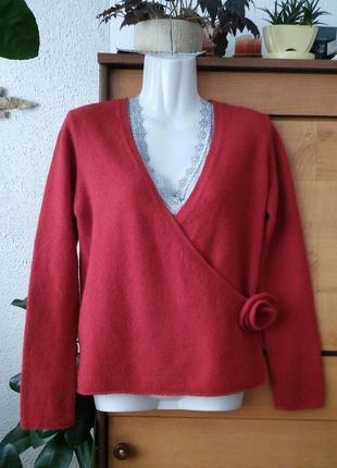 Теплый красный свитер/джемпер на запах, роза снимается