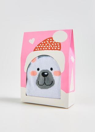 Новые серые носки белый медведь подарочная упаковка польша под...