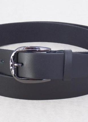 Женский кожаный черный ремень для джинс и брюк