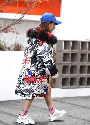 Модный двухстпуховик для девочки, цвета разные, рост 122 - 160 см