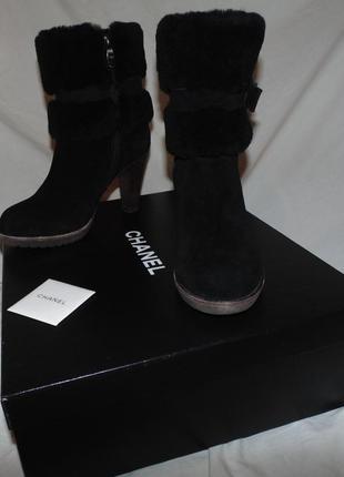 Ботинки сапоги на молнии chanel оригинал замша и мех