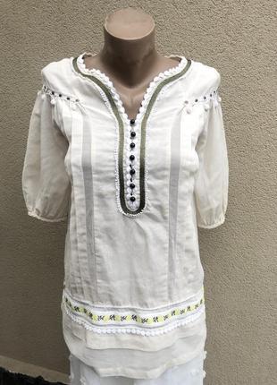 Легкая блуза реглан,рубаха,вышивка,помпоны,этно,бохо стиль,хлопок