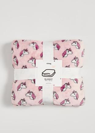 Новый розовый плед одеяло покрывало польша принт единорог лоша...