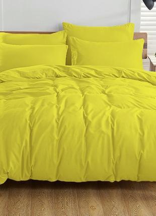 Постельное белье однотонное жёлтого цвета, поплин (натуральный...
